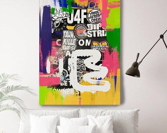 Street Art Artistic Expression, Street Art, Graffiti Wall Art Street Art Painting Print on Canvas, Large Canvas Print, Urban Canvas Print