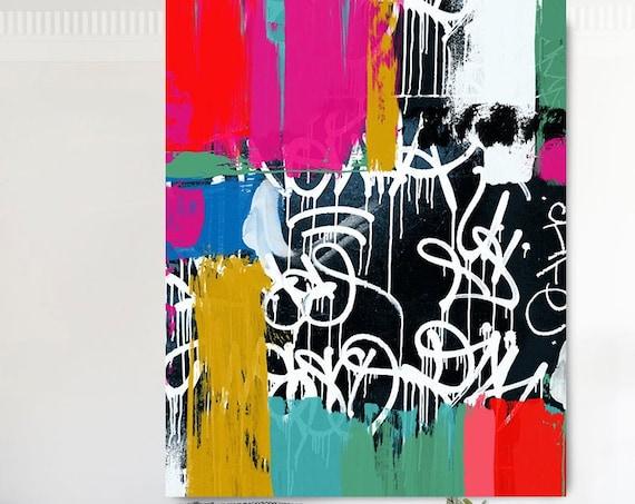 Street art Graffiti painting Canvas, Large Canvas Print, Graffiti Style Painting, Deeply felt social