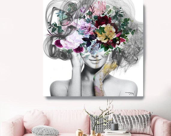 Woman Floral Portrait,  Pink Gold Flower head woman Canvas Print, Sexy wall art, Still life with Bliss, Floral Head Woman Print, Fashion Art