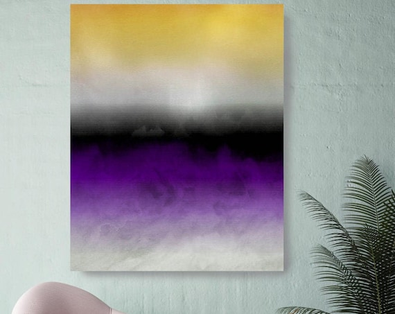 Abstract Minimalist Rothko Inspired Color Block. Green Pink Watercolor Abstract, Abstract Canvas Art Print, Abstract Purple Art