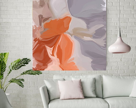 Positive Energy Flow 1, Colorful Blur Abstract Painting Orange Gray Canvas Art Print Extra Large Wall Art Abstract Painting Contemporary Art