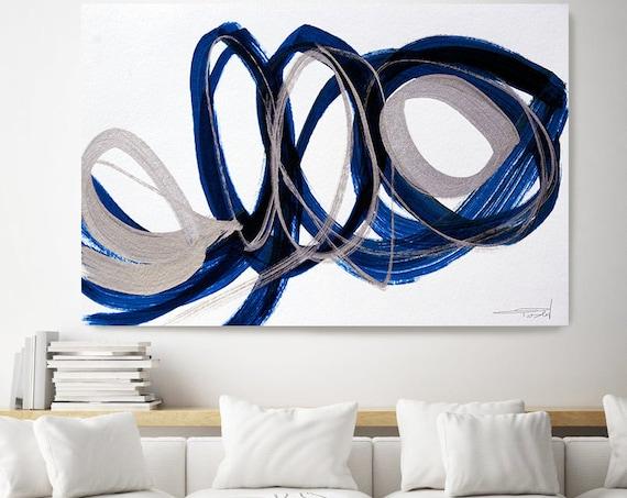 Deep Blue and Silver Circles.Modern Wall Art | Abstract Silver Blue Canvas Print | Large Wall Art Large Abstract Canvas Big Navy Blue Print