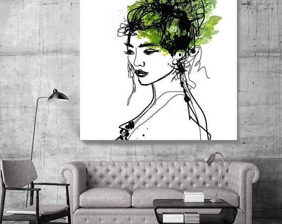 "Beauty Spring Woman. Figurative Green Contemporary Painting Canvas Print, Extra Large Canvas Art Print up to 48"" by Irena Orlov"