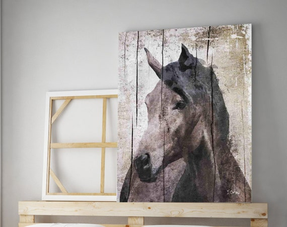 "Horse LeMuse. Extra Large Horse, Unique Horse Wall Decor, Brown Rustic Horse, Large Farmhouse Canvas Art Print up to 72"" by Irena Orlov"