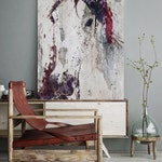 """Purple Horse. Extra Large Horse, Horse Wall Decor, Purple Gray Rustic Horse, Large Contemporary Canvas Art Print up to 72"""" by Irena Orlov"""