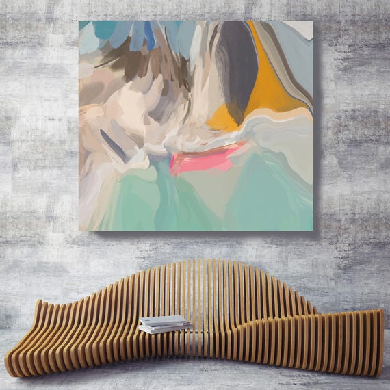 """Build a Dream. Original Oil Painting on Canvas, Contemporary Abstract Green, Yellow, Teal, Pink Oil Painting up to 50"""" by Irena Orlov"""