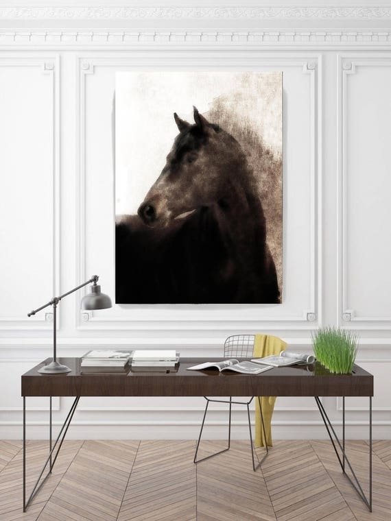 "Spirit. Extra Large Horse, Unique Horse Wall Decor, Brown Black Rustic Horse, Large Contemporary Canvas Art Print up to 72"" by Irena Orlov"