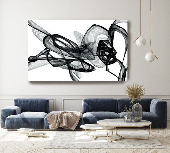 """Abstract Black White,Chemical reaction, New Media Painting on Canvas, Minimalist 44 X 72"""", Minimalist Large Abstract Painting, INVEST IN ART"""