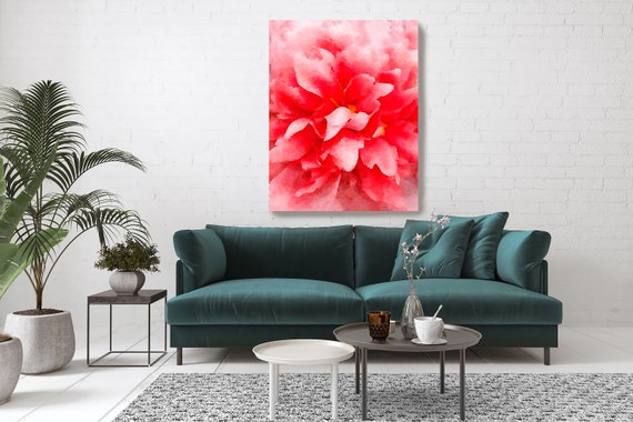 VIBRANCE  Flower Watercolors Painting Canvas Print Red Flower Watercolors Painting Canvas Art Print Abstract Red Floral Art Red Blooming