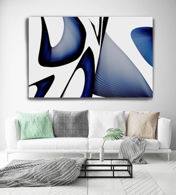 "Mid Century Abstract 2. Mid-Century Modern Black Blue Canvas Art Print, Mid Century Modern Canvas Art Print up to 72"" by Irena Orlov"