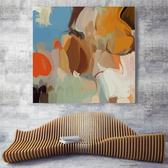 """Timeless abstract 2. Blue, Orange Abstract Art, Wall Decor, Large Abstract Colorful Contemporary Canvas Art Print up to 48"""" by Irena Orlov"""