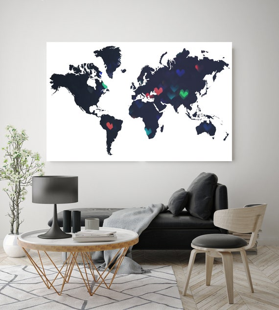 Huge world map, Hearts world map, Minimalist map, Industrial art, Modern Wall Decor, Map canvas art print, Black White Map,Antique Map