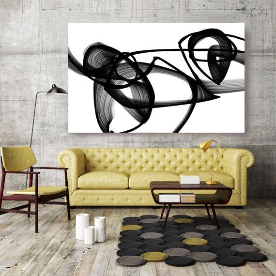 "Abstract Poetry in Black and White, Contemporary Unique Abstract Wall Decor, Large Contemporary Canvas Art Print up to 72"" by Irena Orlov"
