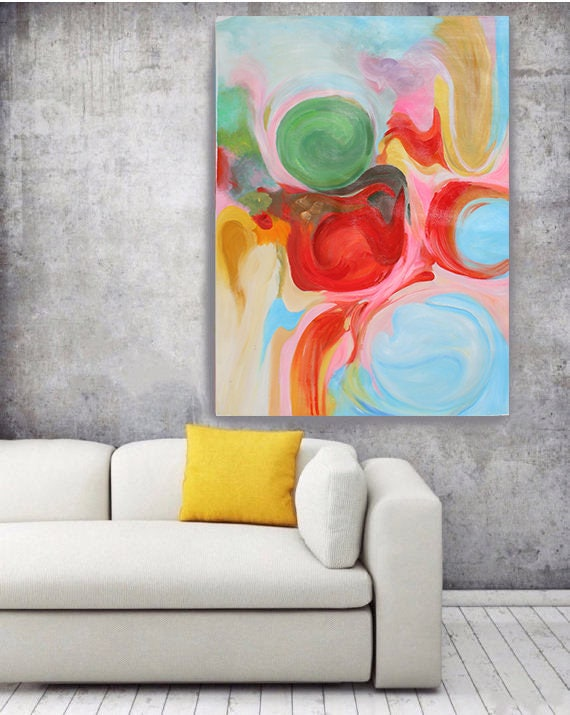 Vivid Dreams, Original Abstract Blue Green Red Yellow Oil on Unstretched Canvas, Original Contemporary Abstract  by Irena Orlov