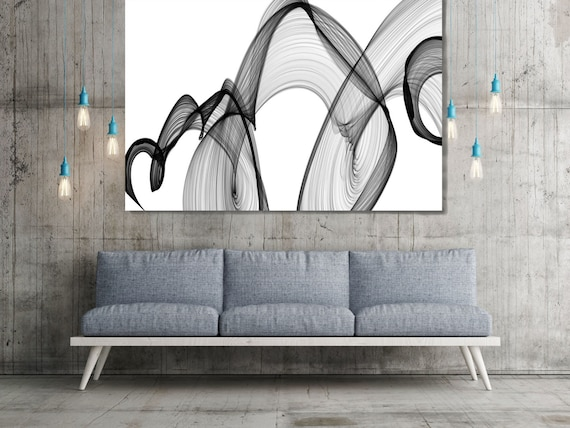 """ORL- 7420 Rhythm and Flow-53. Abstract Black and White, Unique Wall Decor, Large Contemporary Canvas Art Print up to 72"""" by Irena Orlov"""