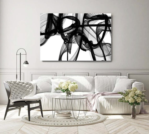 """Black And White Painting, The Invisible World-Movement15_14_06, New Media vs Painting. 45H x 60W"""", Original New Media Abstract on Canvas"""