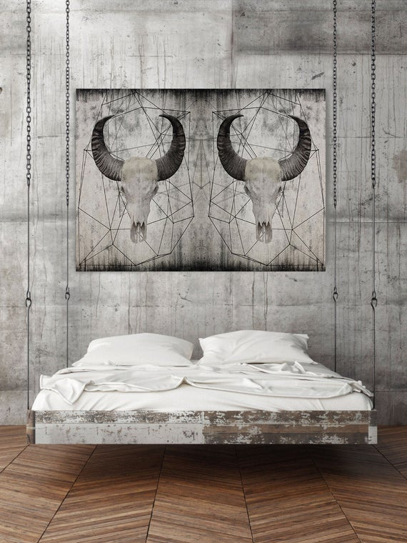"Buffalo skull 2.  Extra Large Rustic Buffalo Skull Beige Canvas Wall Art Print up to 72"", Animal Rustic Canvas Wall Art Print Decor"