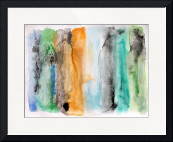 "Studio Sale. Across the Bay. Investment Piece. Original Watercolor on Paper, Framed 22x28"" Abstract Contemporary Wall Art by Irena Orlov"