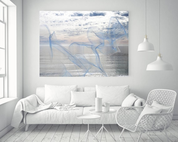 "ORL-11600 Silver ocean breeze 17. Extra Large Contemporary Blue Canvas Art Print, Seascape Abstract Canvas Art up to 80""  by Irena Orlov"