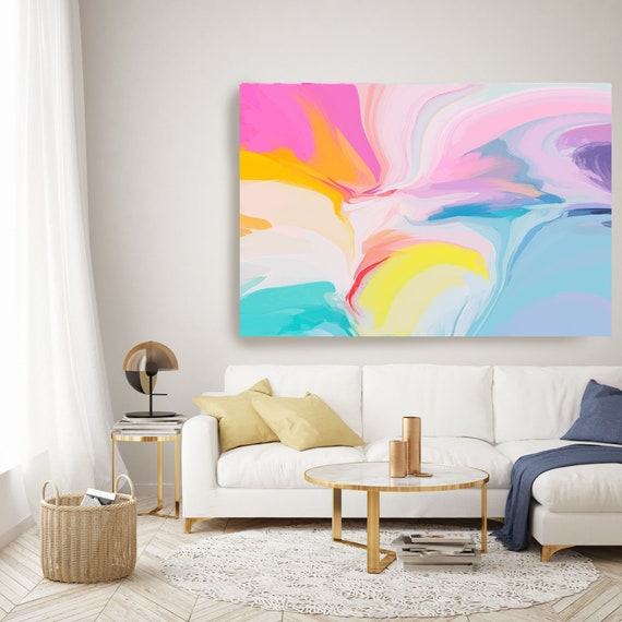 Blue Pink Yellow Large Abstract Art, Abstract Canvas Print Large Modern Abstract Wall Art, Abstract Painting, late spring