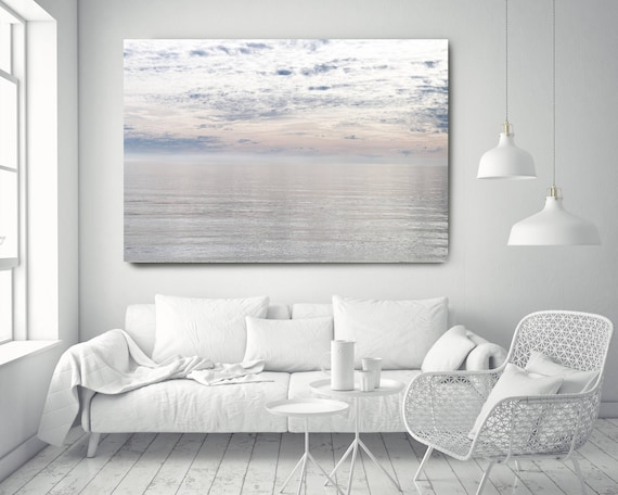 "Silver Ocean 11. Extra Large Water Canvas Art Prints up to 72"", Seascape Blue Pink Water Photography Print by Irena Orlov"