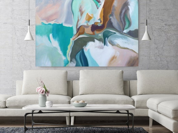 "Expression of Balance, Turquoise Blue Original Acrylic Abstract Art on Canvas, Fine Art Canvas Print Size up to 80"" by Irena Orlov"