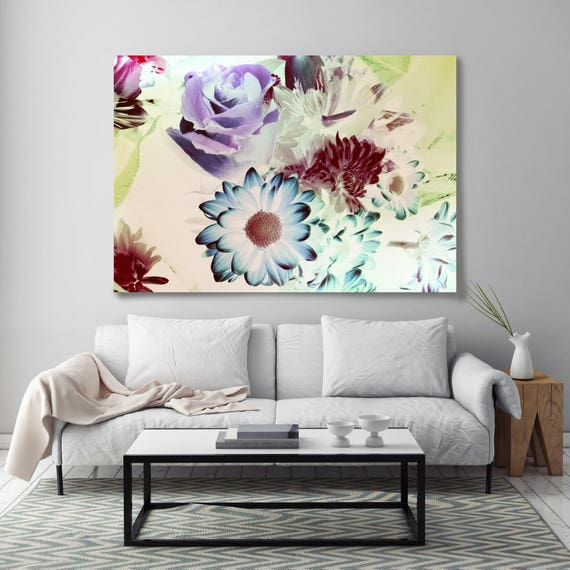 "Retro Delight. Floral Painting, Blue Purple Green Abstract Art, Abstract Colorful Contemporary Canvas Art Print up to 72"" by Irena Orlov"