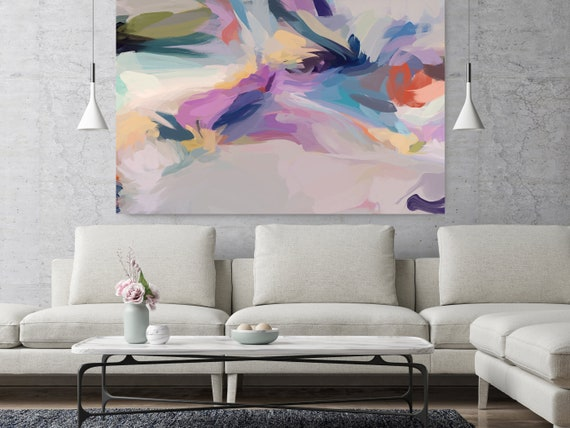 """Do You Feel The Rhythm, Purple Blue Abstract painting Original Acrylic Abstract Art on Canvas Fine Art Canvas Print up to 80"""" by Irena Orlov"""