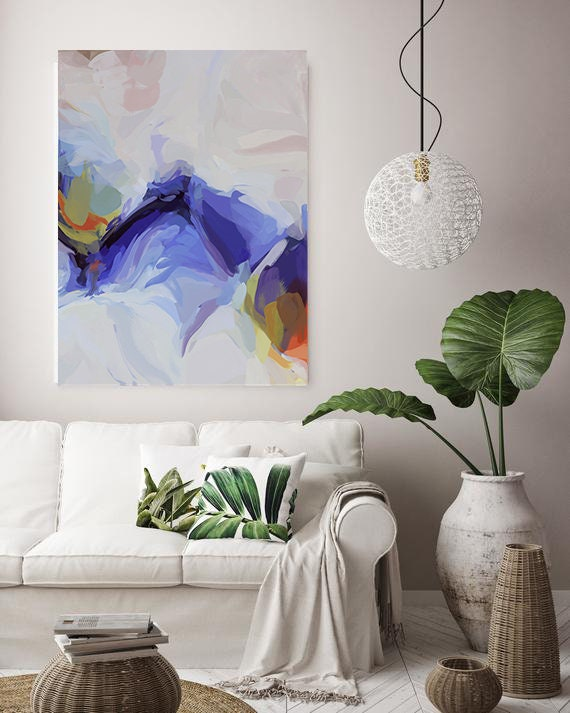Purple Flow Large Art Abstract Painting Purple Oversized Blue White Painting Abstract Art Painting, Living Room Decor, Wall Blue Painting