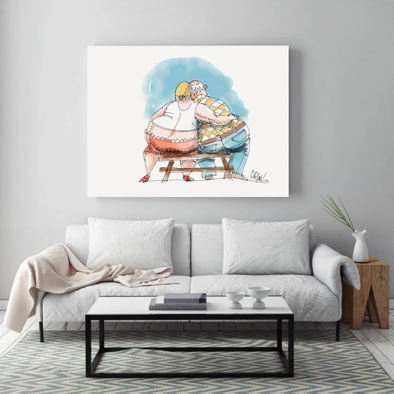 "Always Together, People Illustration art print. White Blue Large Canvas Art Print, Wall Decor up to 72"" by Zeev Orlov"