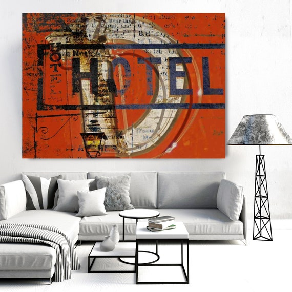 Hotel - Urban Wall Art - Contemporary Wall Art - Urban Art - Large Abstract Art - Textured Painting - Hotel Wall Art - Canvas Print