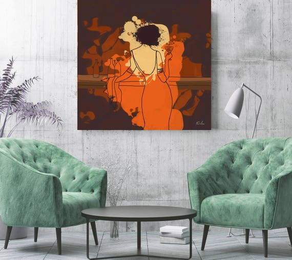 "Romantic Evening. Abstract Female Art, Woman in the Bar. Orange Brown Figurative Canvas Art Print up to 48"" by Irena Orlov"