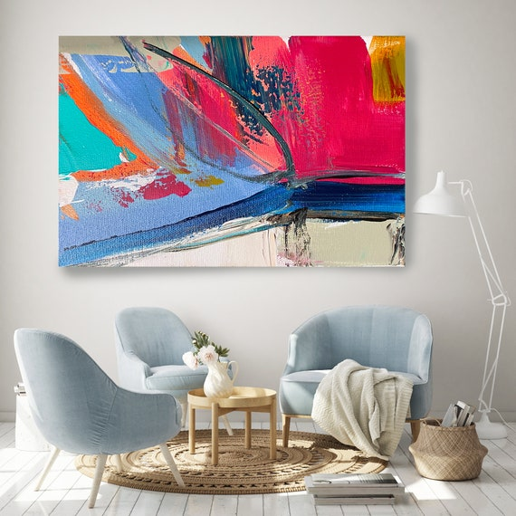 Joyful Modernist Abstraction 4, Abstract Painting Modern Art Abstract Painting Extra Large Painting Extra Large Abstract Canvas Print