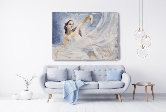 Blue Underwater Grace and Beauty 2, Painting Figurative Art Extra Large Nautical Painting Large Canvas Print, Woman Figurative Canvas Print
