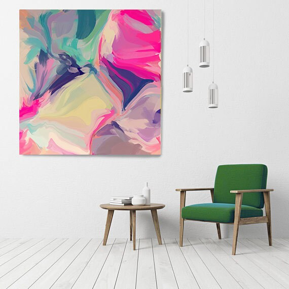 "Fantastic Tomorrow, Art Abstract Print on Canvas up to 50"", Green Pink Yellow Abstract Canvas Art Print, Sunny City by Irena Orlov"