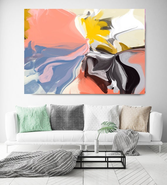 Rhythm of the violinist, Abstract Painting Trending Now Vibrant Flow Artwork Canvas Art Print Contemporary Flow Painting Large Canvas Print