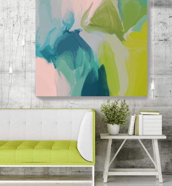 """Calm Colors -411. Original Oil Painting on Canvas, Contemporary Abstract Green, Blue, Teal Oil Painting up to 50"""" by Irena Orlov"""