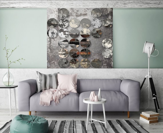 "Industrial Mixed Media Circles 808-299, Extra Large Abstract Canvas Art Print, Grey, Black Abstract Rustic Wall Art up to 48"" by Irena Orlov"