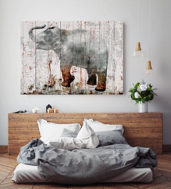 "Gray Elephant 3. Extra Large Rustic Gray Cooper Elephant canvas print, elephant wall decor, ELEPHANT art print up to 72"" by Irena Orlov"