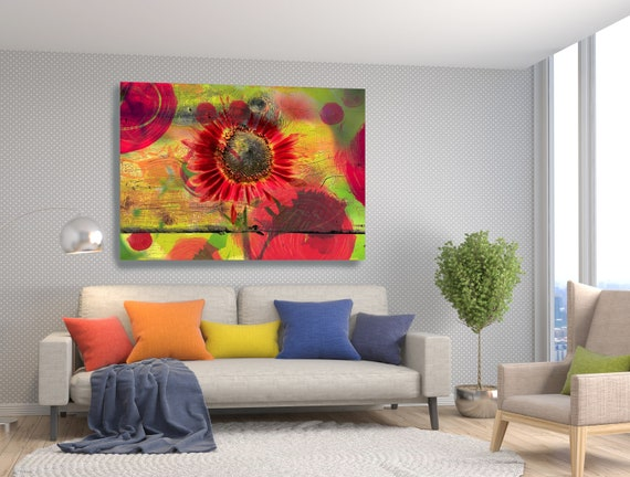 Autumn-1. Floral Painting, Red Yellow Green Flower Art, Red Floral Wall Decor, Rustic Floral Canvas Print, Farmhouse Floral Painting Print