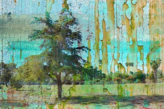 """Green Field. Huge Rustic Landscape Painting Canvas Art Print, Extra Large Blue Green Canvas Art Print up to 80"""" by Irena Orlov"""