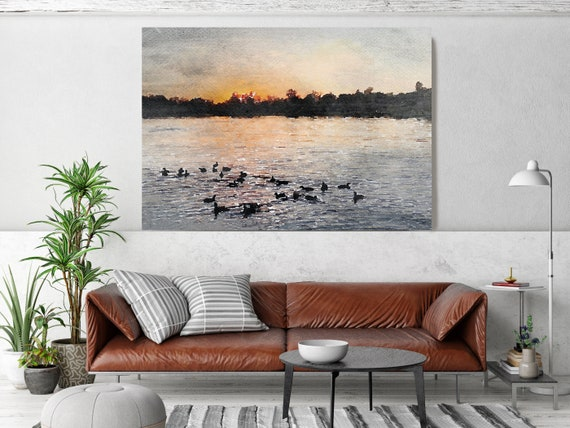 Sunset seascape Art, Sunset watercolor landscape painting Watercolor Canvas Art Print Sunset painting on canvas, Silence of the Nature 7