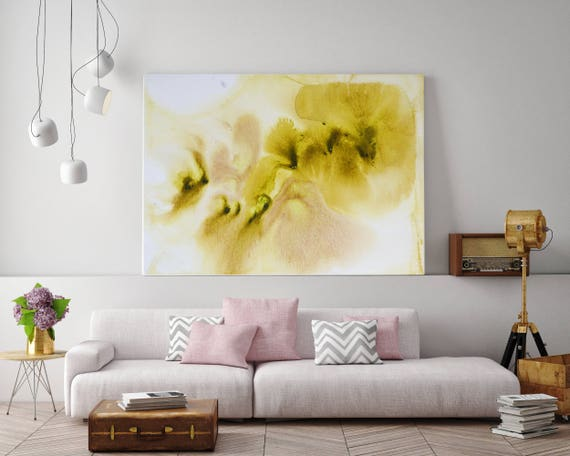 "Watercolor Coastal Abstract 34-3. Watercolor Abstract White Yellow Canvas Art Print, Watercolor Painting Print up to 72"" by Irena Orlov"