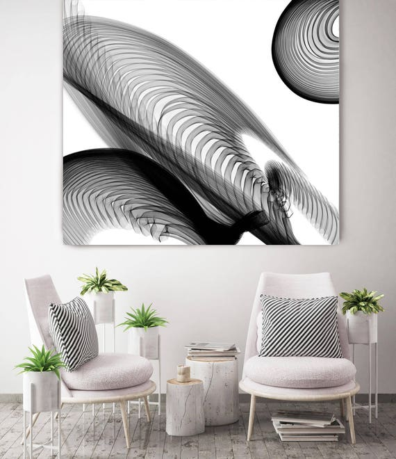 "ORL-6055 Abstract Black and White 22-04-45. New Media Abstract Black and White Canvas Art Print, Canvas Art Print up to 50"" by Irena Orlov"