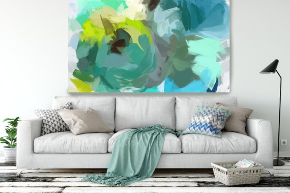 """The Shades of Green Abstract 2, Modern Green Canvas Art Print Painting Green Abstract White Green Decor up to 80"""" by Irena Orlov"""