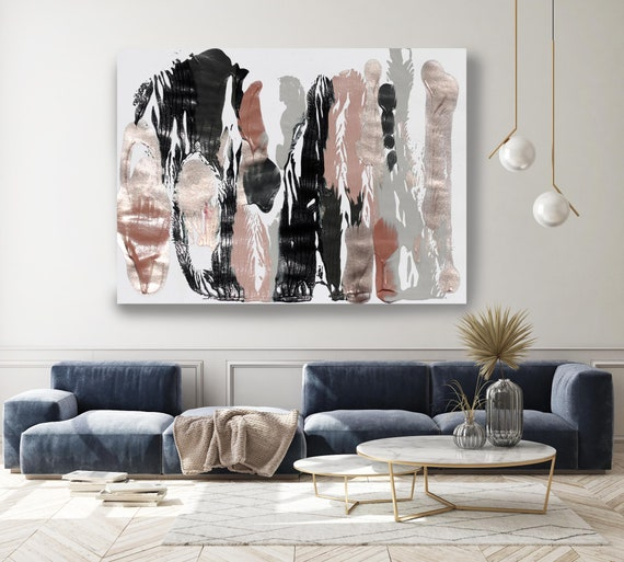 A calm day, Pink Gold Abstract Painting  Modern Art Abstract Painting Extra Large Painting Extra Large Abstract Canvas Print