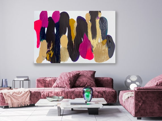 Gold Pink Reflection, Gold Hot Pink, Abstract Painting  Modern Art Abstract Painting Extra Large Painting Extra Large Abstract Canvas Print