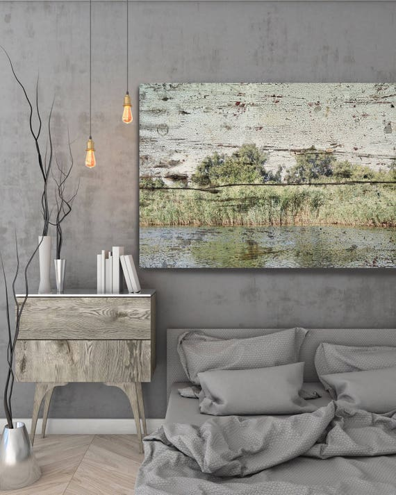 "ORL-11617 Rustic Landscape 23, Landscape Art,  Green Tree Art, Rustic Landscape, large canvas art print up to 72"" by Irena Orlov"