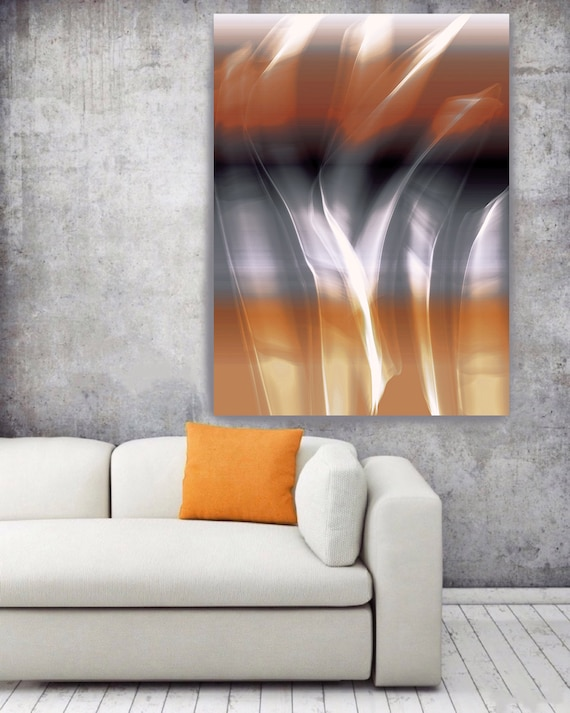 "Mysterious Light 61-2. Large Abstract Canvas Art, Abstract Orange Grey Blue Contemporary Abstract Wall Art Print up to 72"" by Irena Orlov"