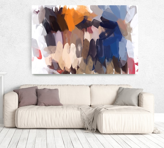 "The Color Movement 14, Abstract Painting Modern Wall Art Painting Canvas Print Art Modern Navy Blue Orange  Green up to 80"" by Irena Orlov"